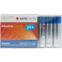 Agfa Alkaline Power AAA LR03 Batteries 24 Pack, Assorted