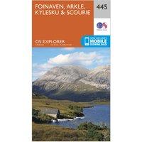 Ordnance Survey Explorer 445 Foinaven, Arkle, Kylesku & Scourie Map With Digital Version, Orange