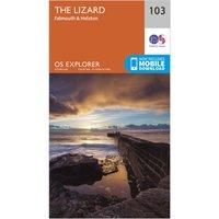 Ordnance Survey Explorer 103 The Lizard Map With Digital Version, Orange/D