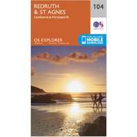 Ordnance Survey Explorer 104 Redruth & St Agnes Map With Digital Version, Orange/D