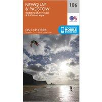 Ordnance Survey Explorer 106 Newquay & Padstow Map With Digital Version, Orange/D
