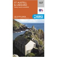 Ordnance Survey Explorer 107 St Austell & Liskeard Map With Digital Version, Orange/D