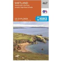 Ordnance Survey Explorer 467 Shetland - Mainland Central Map With Digital Version, Orange