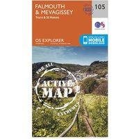 Ordnance Survey Explorer Active 105 Falmouth & Mevagissey Map With Digital Version, Orange