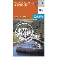 Ordnance Survey Explorer Active 111 Bude, Boscastle & Tintagel Map With Digital Version, Orange