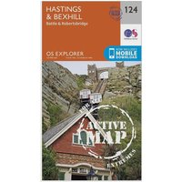 Ordnance Survey Explorer Active 124 Hastings & Bexhill Map With Digital Version, Orange