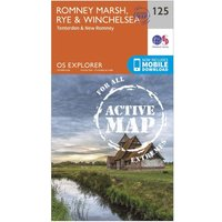 Ordnance Survey Explorer Active 125 Romneys Marsh, Rye & Winchelsea Map With Digital Version, Orange