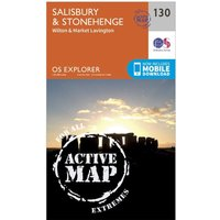Ordnance Survey Explorer Active 130 Salisbury & Stonehenge Map With Digital Version, Orange