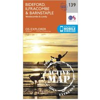 Ordnance Survey Explorer Active 139 Bideford, Ilfracombe & Barnstaple Map With Digital Version, Orange
