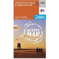 Ordnance Survey Explorer Active 140 Quantock Hills & Bridgewater Map With Digital Version, Orange