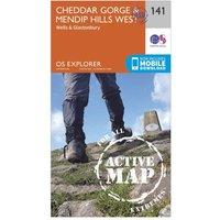 Ordnance Survey Explorer Active 141 Cheddar Gorge & Mendip Hills West Map With Digital Version, Orange