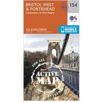 Ordnance Survey Explorer Active 154 Bristol West & Portishead Map With Digital Version, Orange