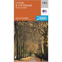 Ordnance Survey Explorer 193 Luton & Stevenage, Hitchin & Ampthill Map With Digital Version, N/A