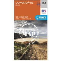 Ordnance Survey Explorer Active 164 Gower & Llanelli Map With Digital Version, Orange