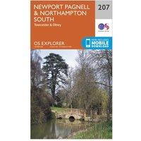 Ordnance Survey Explorer 207 Newport Pagnell & Northampton South Map With Digital Version, Orange