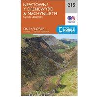 Ordnance Survey Explorer 215 Newton & Llanfair Caereinion Map With Digital Version, Orange