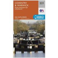 'Ordnance Survey Explorer 221 Coventry, Warwick, Royal Leamington Spa & Kenilworth Map With Digital Version - Orange, Orange
