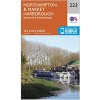 Ordnance Survey Explorer 223 Northampton, Market Harborough, Brixworth & Pitsford Water Map With Digital Version, Orange