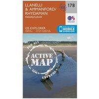 Ordnance Survey Explorer Active 178 Llanelli & Ammanford Map With Digital Version, Orange
