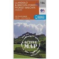Ordnance Survey Explorer Active 186 Llandeilo & Brechfa Forest Map With Digital Version, Orange