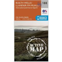 Ordnance Survey Explorer Active 188 Builth Wells, Painscastle & Talgarth Map With Digital Version, Orange
