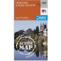 Ordnance Survey Explorer Active 189 Hereford & Ross-on-Wye Map With Digital Version, Orange
