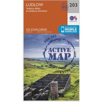 Ordnance Survey Explorer Active 203 Ludlow, Tenbury Wells & Cleobury Mortimer Map With Digital Version, Orange