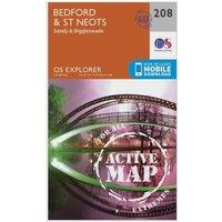 Ordnance Survey Explorer Active 208 Bedford & St Neots Map With Digital Version, Orange