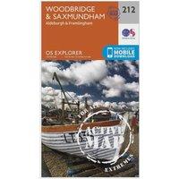 Ordnance Survey Explorer Active 212 Woodbridge & Saxmundham Map With Digital Version, Orange