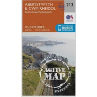 Ordnance Survey Explorer Active 213 Aberystwyth & Cwn Rheidol Map With Digital Version, Orange
