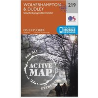 Ordnance Survey Explorer Active 219 Wolverhampton & Dudley Map With Digital Version, Orange