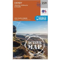 Ordnance Survey Explorer Active 259 Derby, Uttoxeter, Ashbourne & Cheadle Map With Digital Version, Orange