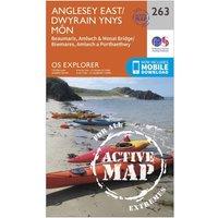 Ordnance Survey Explorer Active 263 Anglesey East Map With Digital Version, Orange