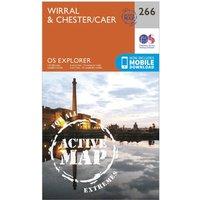 Ordnance Survey Explorer Active 266 Wirral & Chester Map With Digital Version, Orange