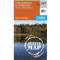Ordnance Survey Explorer Active 269 Chesterfield & Alfreton Map With Digital Version, Orange