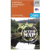 Ordnance Survey Explorer Active 278 Sheffield & Barnsley Map With Digital Version - Orange, Orange