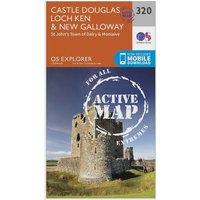 Ordnance Survey Explorer Active 320 Castle Douglas, Loch Ken & New Galloway Map With Digital Version, Orange
