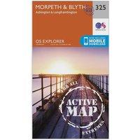 Ordnance Survey Explorer Active 325 MorpethandBlyth Map With Digital Version  Orange