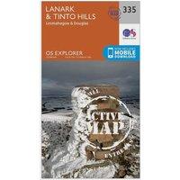 Ordnance Survey Explorer Active 335 Lanark & Tinto Hills Map With Digital Version, Orange