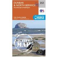 Ordnance Survey Explorer Active 351 Dunbar & North Berwick Map With Digital Version, Orange
