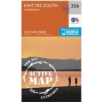 Ordnance Survey Explorer Active 356 Kintyre South Campeltown Map With Digital Version, Orange