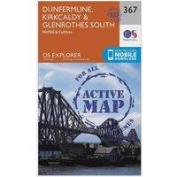 Ordnance Survey Explorer Active 367 Dunfermline, Kirkcaldy & Glenrothes South Map With Digital Version, Orange