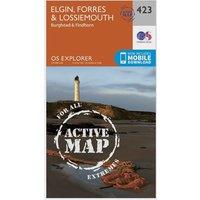 Ordnance Survey Explorer Active 423 Elgin, Forres & Lossiemouth Map With Digital Version, Orange