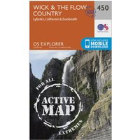 Ordnance Survey Explorer Active 450 Wick & The Flow Country Map With Digital Version, Orange