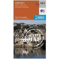 Ordnance Survey Explorer Active 463 Orkney - West Mainland Map With Digital Version - Orange, Orange