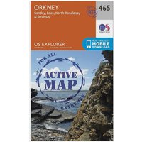 Ordnance Survey Explorer Active 465 Orkney - Sanday, Eday, North Ronaldsay & Stronsay Map With Digital Version, Orange