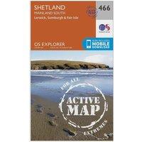Ordnance Survey Explorer Active 476 Shetland - Mainland South Map With Digital Version, Orange