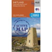 Ordnance Survey Explorer Active 468 Shetland - Mainland North East Map With Digital Version, Orange
