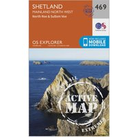 Ordnance Survey Explorer Active 469 Shetland - Mainland North West Map With Digital Version, Orange
