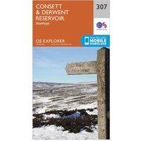 Ordnance Survey Explorer 307 Consett & Derwent Reservoir Map With Digital Version, Orange